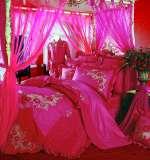 富安娜馨而乐婚庆床品红色斜纹纯棉床裙八件套玫瑰人生