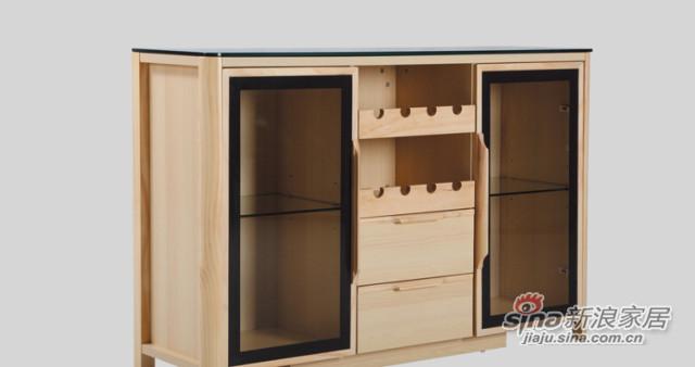 原味生活 现代简约 原木色 松木 餐边柜(含玻璃柜面)-1
