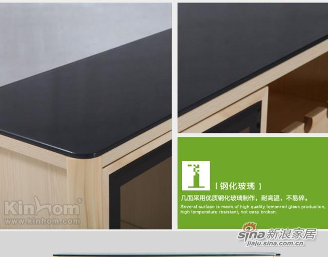 原味生活 现代简约 原木色 松木 餐边柜(含玻璃柜面)-2