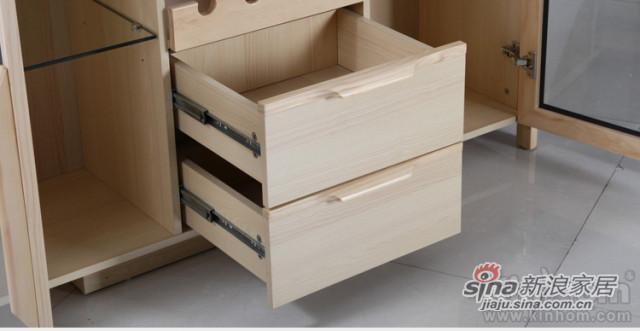 原味生活 现代简约 原木色 松木 餐边柜(含玻璃柜面)-4