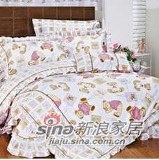 紫罗兰家纺床上用品全棉活性印花三件套乖乖熊PCCT002-0
