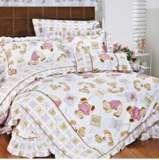 紫罗兰家纺床上用品全棉活性印花三件套乖乖熊PCCT002