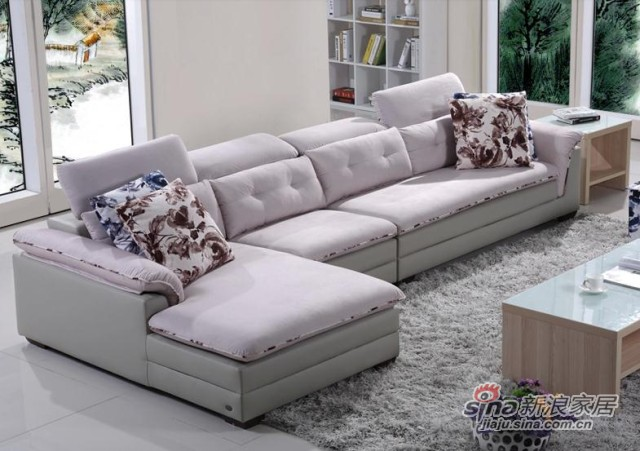 左右皮布沙发-3