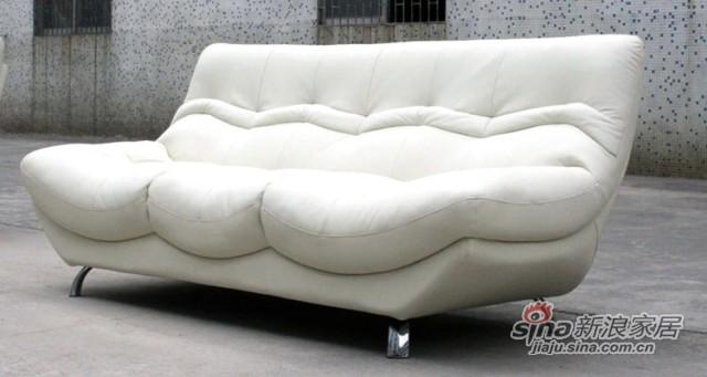 【新干线】真皮白色休闲组合单/双/三人位/客厅1+2+3现代组合沙发-4