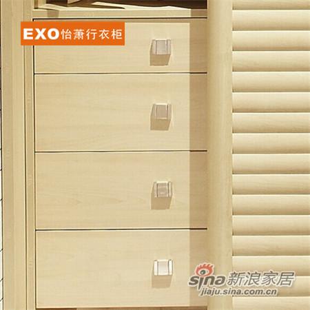 时尚经典流线木纹框全百叶整体衣柜-2