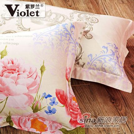 紫罗兰家纺纯棉四件套全棉简约床上用品-2