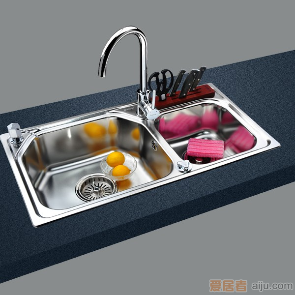 GORLDE优质不锈钢水槽/洗菜池 欧雅系列OY03(大小盆)1