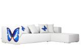 曲美家具三人右扶手沙发