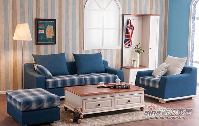 小憨豆家居高档地中海蓝色实木家具可拆洗布艺沙发