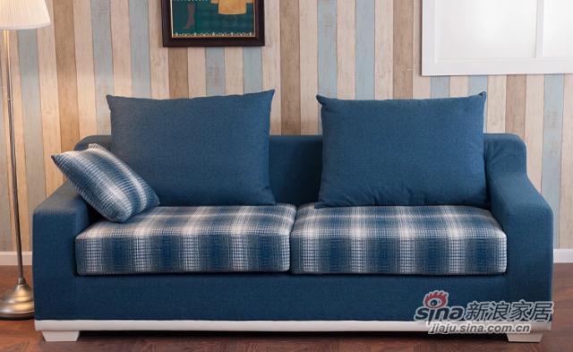 小憨豆家居高档地中海蓝色实木家具可拆洗布艺沙发-1