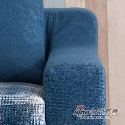 小憨豆家居高档地中海蓝色实木家具可拆洗布艺沙发-2