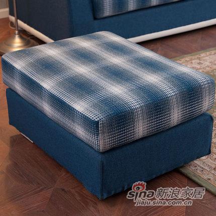 小憨豆家居高档地中海蓝色实木家具可拆洗布艺沙发-3