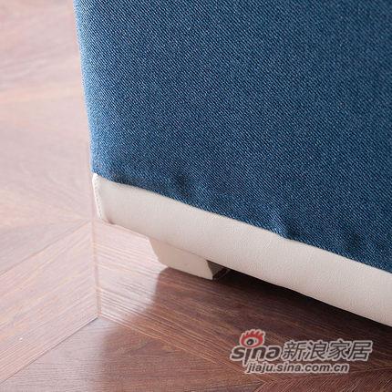 小憨豆家居高档地中海蓝色实木家具可拆洗布艺沙发-4