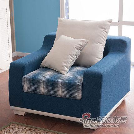 小憨豆家居高档地中海蓝色实木家具可拆洗布艺沙发-5