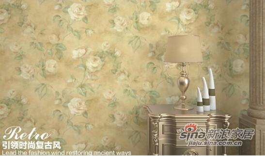 格莱美墙纸经典作旧优雅大花美国进口纯纸壁纸-1