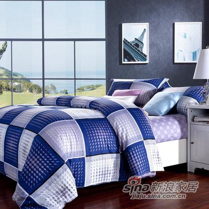 紫罗兰家纺 纯棉斜纹印花简约风四件套床品四套件-0