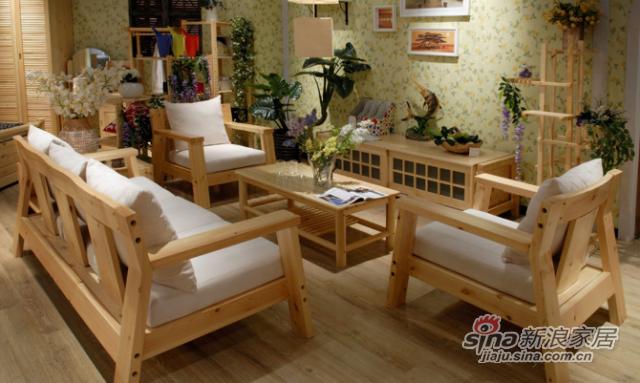 艾森木业名松屋松木系列全实木三人沙发-3