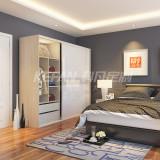 科凡烤漆移门整体板式卧室简易衣柜  白色烤漆+中间卡其色烤漆 柜身德州枫木CY017