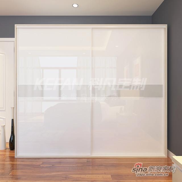 科凡烤漆移门整体板式卧室简易衣柜  白色烤漆+中间卡其色烤漆 柜身德州枫木CY017-3