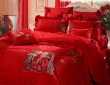 【富安娜】全棉荷叶边绣花婚庆床单十件套
