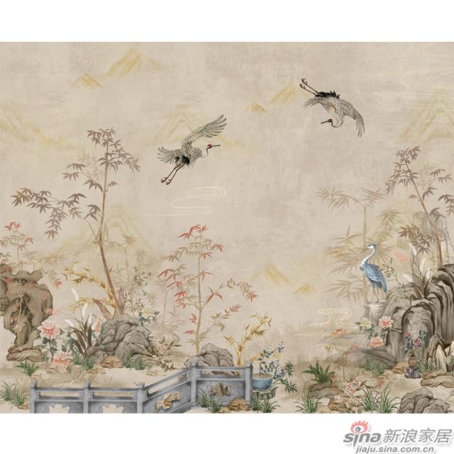 盛世安年_鹤舞松下延寿筹,嗥鸣花间有新春中式花鸟风格背景墙_JCC天洋墙布-2