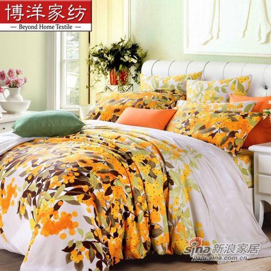 博洋家纺全棉斜纹印花床单四件套橘子红了-0