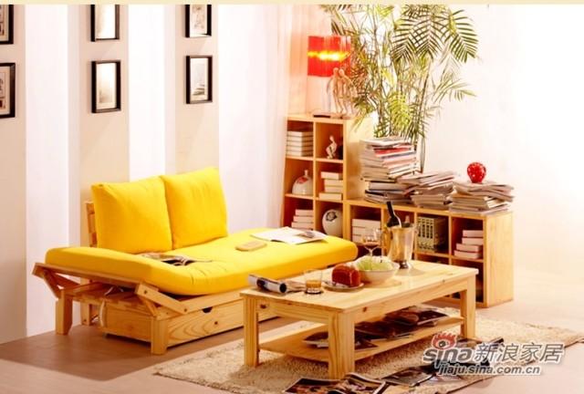 喜梦宝松木家具原木色多功能沙发床配套床下抽屉储物抽屉收纳抽屉-4