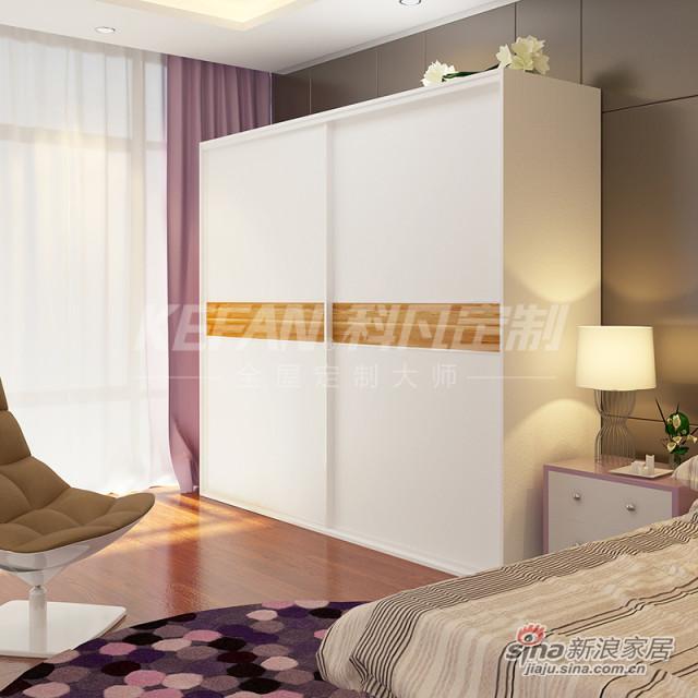 科凡推拉门衣橱 烤漆移门整体板式卧室简易衣柜 下白色烤漆+中间卡其色烤漆 柜身白橡CY019