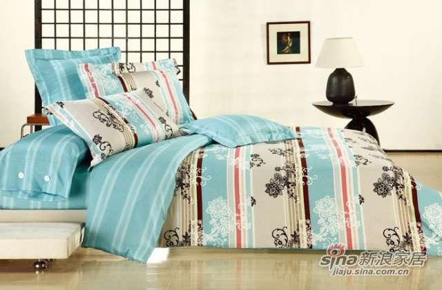 富安娜圣之花40S缎纹印花床单四件套碧色丽影-0