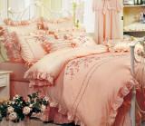富安娜家纺 馨而乐正品 玫瑰咏叹调纯棉床单四件套全棉婚庆十字绣