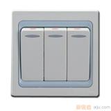 雷士三位单极带荧光大按板开关EP8A311
