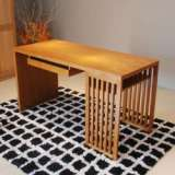 B&E佰宜家居 书桌 工作台 书房 水曲柳 实木板木结合