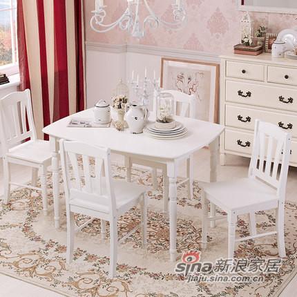 喜梦宝实木餐桌松木家具欧式现代贵族四方长桌餐厅饭桌气质象牙白-0