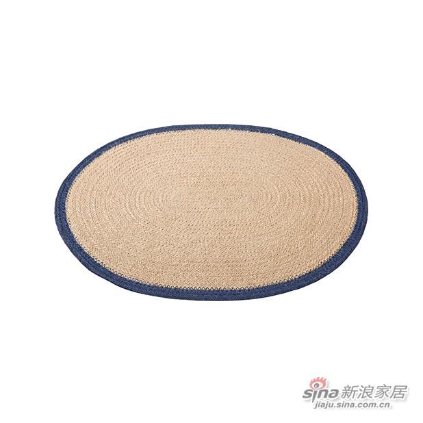 椭圆蓝边黄麻餐垫-0