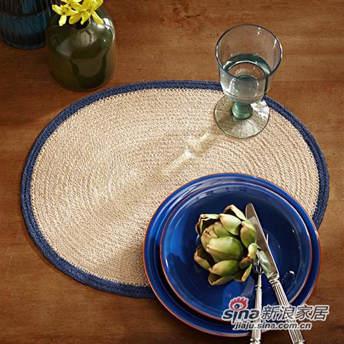 椭圆蓝边黄麻餐垫
