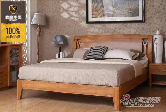 浪度原木色板床