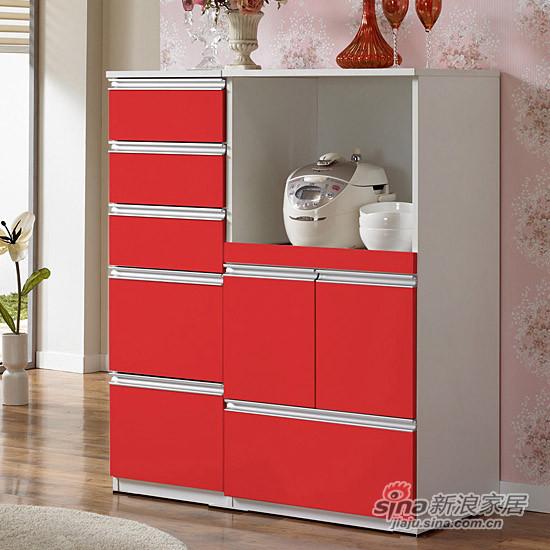 时尚中国红餐边柜 餐厅收纳碗盘柜-0