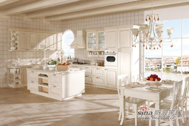 简欧开放式厨房 象牙白L型整体橱柜-0