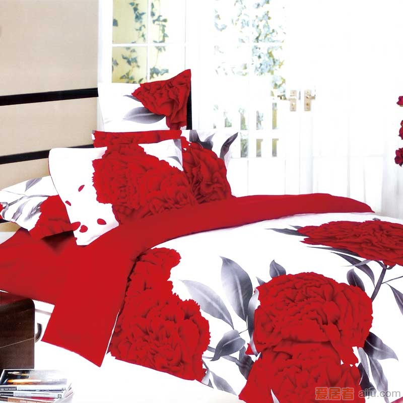家元素床上用品-爱相伴(白)四件套纯棉-HD15000012
