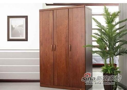 双叶全实木棕红色三门衣柜-0