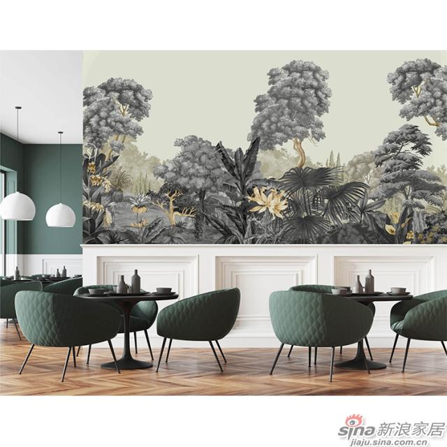 密林幻想_炭灰色密林图案中性大气壁画自然花鸟背景墙_JCC天洋墙布