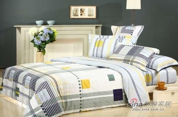 富安娜床品全棉斜纹床单四件套思域空间-0