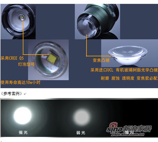 鸿雁旋转无级变焦 美国CREE强光超高亮铝合金LED手电筒06款97610688-1