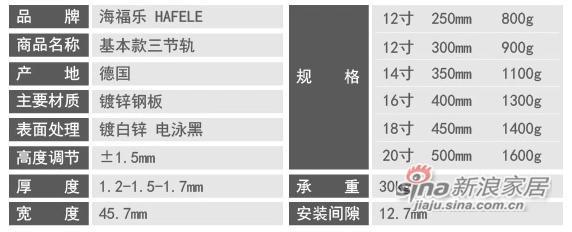 海福乐HAFELE三节滑轨-2
