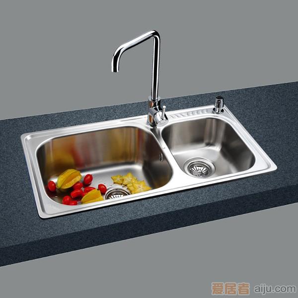 GORLDE优质不锈钢水槽/洗菜池 莱茵系列2040F(大小盆)1