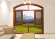 欧迪克上弧形木铝断桥平开窗带金刚纱网