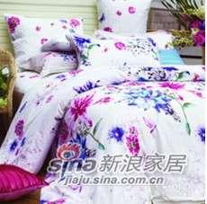 紫罗兰家纺床上用品全棉贡缎印花四件套挪威森林VPEF089-4-0