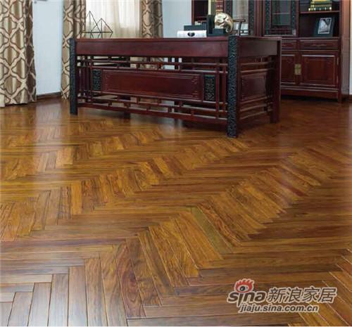 安信非洲花梨(刺猬紫檀)人字拼实木地板-0