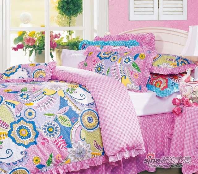 富安娜圣之花缎纹印花床单四件套绚彩激情-0