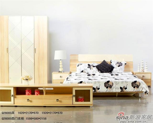 印象米兰升级系列-Q26005四门衣柜+Q26005床+Q26605电视柜